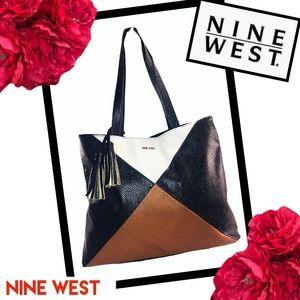 NINE WEST Tan, Cream, & Black Shoulder Bag